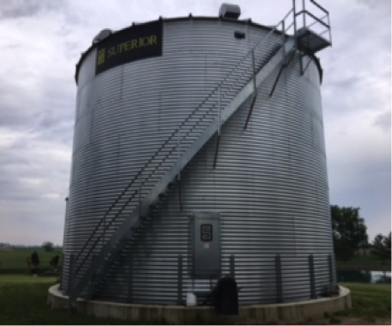Grain bin with stairs