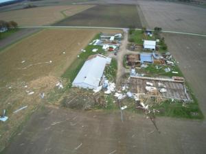 Tornado damage to farm in Mercer County, Ohio